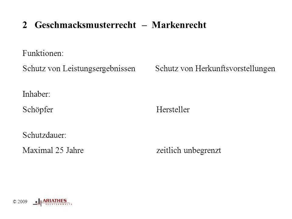 © 2009 2 Geschmacksmusterrecht – Markenrecht Funktionen: Schutz von Leistungsergebnissen Schutz von Herkunftsvorstellungen Inhaber: Schöpfer Hersteller Schutzdauer: Maximal 25 Jahre zeitlich unbegrenzt
