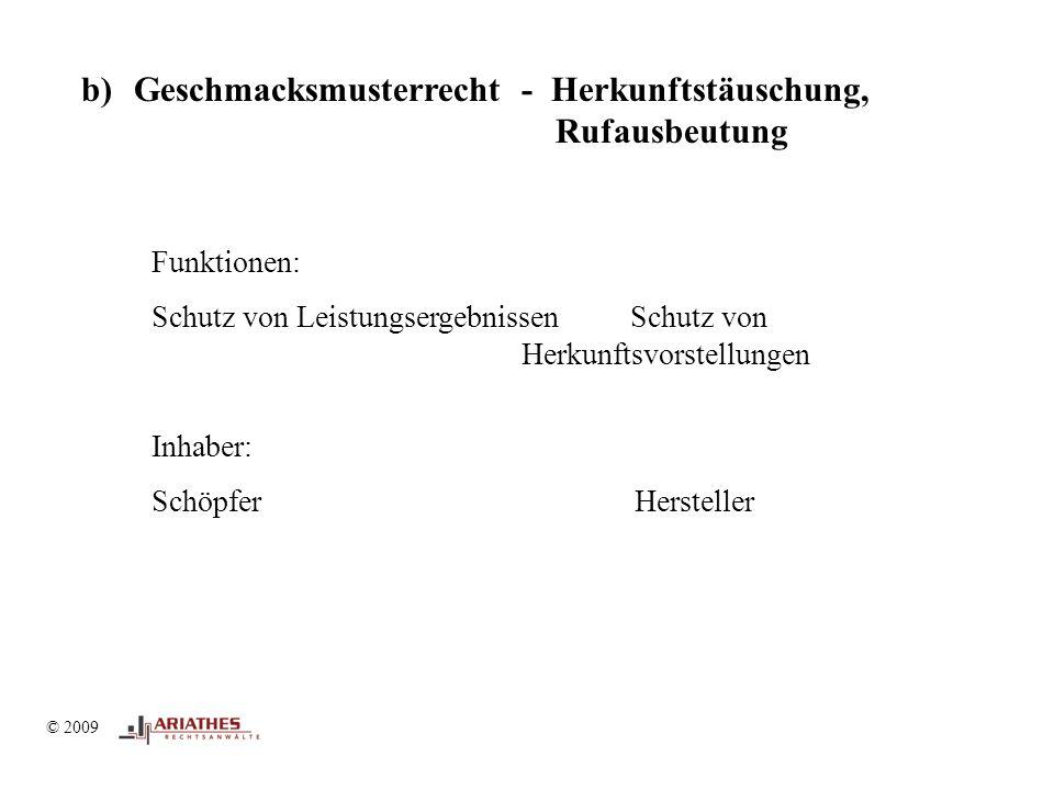 © 2009 b)Geschmacksmusterrecht - Herkunftstäuschung, Rufausbeutung Funktionen: Schutz von Leistungsergebnissen Schutz von Herkunftsvorstellungen Inhaber: Schöpfer Hersteller