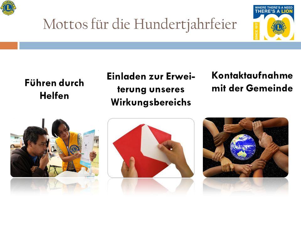 Mottos für die Hundertjahrfeier Führen durch Helfen Einladen zur Erwei- terung unseres Wirkungsbereichs Kontaktaufnahme mit der Gemeinde