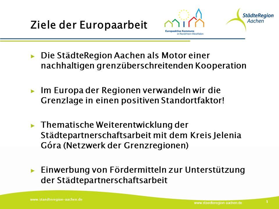 www.staedteregion-aachen.de 1 Ziele der Europaarbeit ▶ Die StädteRegion Aachen als Motor einer nachhaltigen grenzüberschreitenden Kooperation ▶ Im Europa der Regionen verwandeln wir die Grenzlage in einen positiven Standortfaktor.