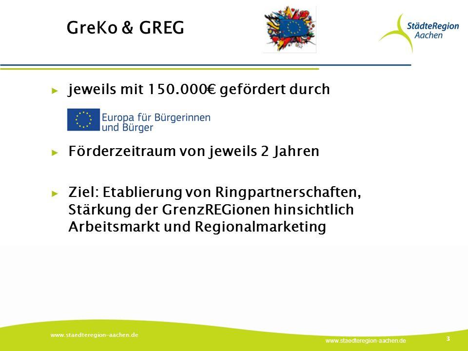 www.staedteregion-aachen.de GreKo & GREG www.staedteregion-aachen.de 3 ▶ jeweils mit 150.000€ gefördert durch ▶ Förderzeitraum von jeweils 2 Jahren ▶ Ziel: Etablierung von Ringpartnerschaften, Stärkung der GrenzREGionen hinsichtlich Arbeitsmarkt und Regionalmarketing