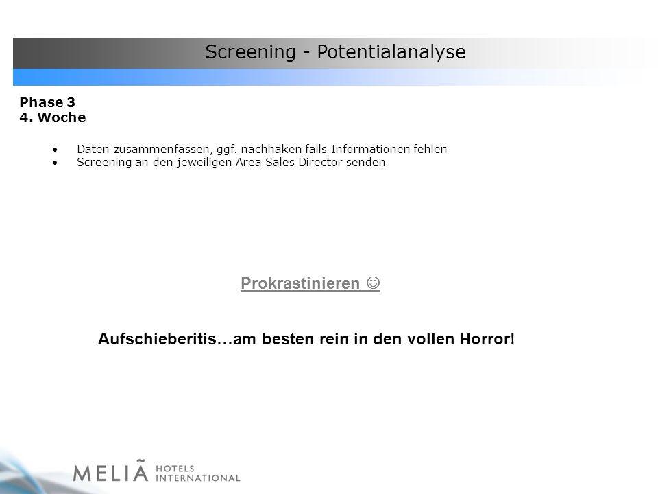 Screening - Potentialanalyse Phase 3 4. Woche Daten zusammenfassen, ggf. nachhaken falls Informationen fehlen Screening an den jeweiligen Area Sales D