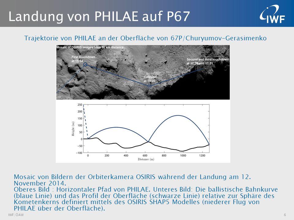 Trajektorie von PHILAE an der Oberfläche von 67P/Churyumov-Gerasimenko IWF/ÖAW6 Landung von PHILAE auf P67 Mosaic von Bildern der Orbiterkamera OSIRIS während der Landung am 12.