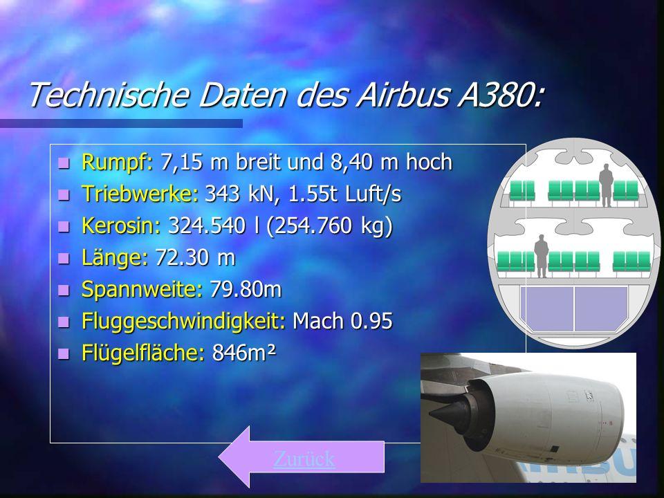 Technische Daten des Airbus A380: Rumpf: 7,15 m breit und 8,40 m hoch Rumpf: 7,15 m breit und 8,40 m hoch Triebwerke: 343 kN, 1.55t Luft/s Triebwerke: