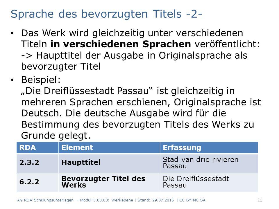 """Sprache des bevorzugten Titels -2- Das Werk wird gleichzeitig unter verschiedenen Titeln in verschiedenen Sprachen veröffentlicht: -> Haupttitel der Ausgabe in Originalsprache als bevorzugter Titel Beispiel: """"Die Dreiflüssestadt Passau ist gleichzeitig in mehreren Sprachen erschienen, Originalsprache ist Deutsch."""