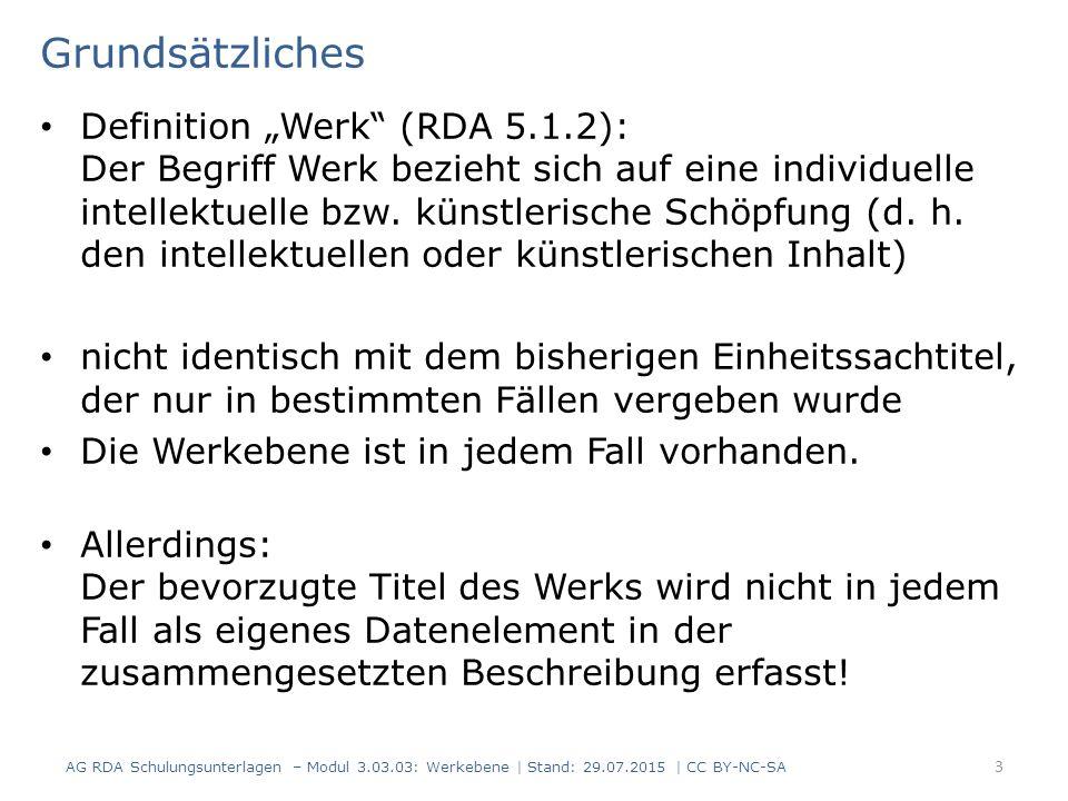 Werke von mehreren geistigen Schöpfern Beispiel: RDAElementErfassung 2.3.2HaupttitelPaletten-Handbuch 6.2.2 Bevorzugter Titel des Werks Paletten-Handbuch 19.2Geistiger SchöpferKnorre, Jürgen, 1944- 18.5 Beziehungs- kennzeichnung Verfasser 19.2 Weitere geistige Schöpfer Hector, Bernhard, 1953- 18.5 Beziehungs- kennzeichnung Verfasser 6.27.1 Normierter Sucheinstieg, der ein Werk repräsentiert Knorre, Jürgen, 1944-.