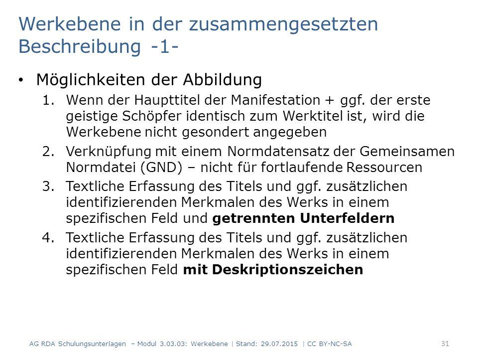 Werkebene in der zusammengesetzten Beschreibung -1- Möglichkeiten der Abbildung 1.Wenn der Haupttitel der Manifestation + ggf.
