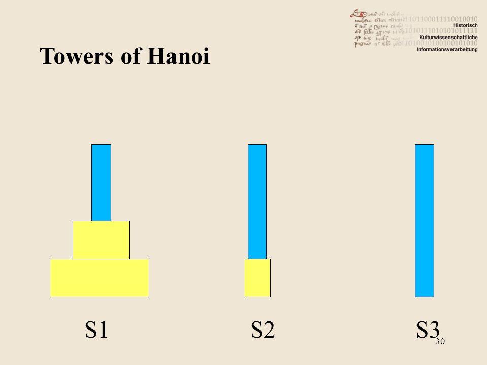 Towers of Hanoi S1 S2 S3 30
