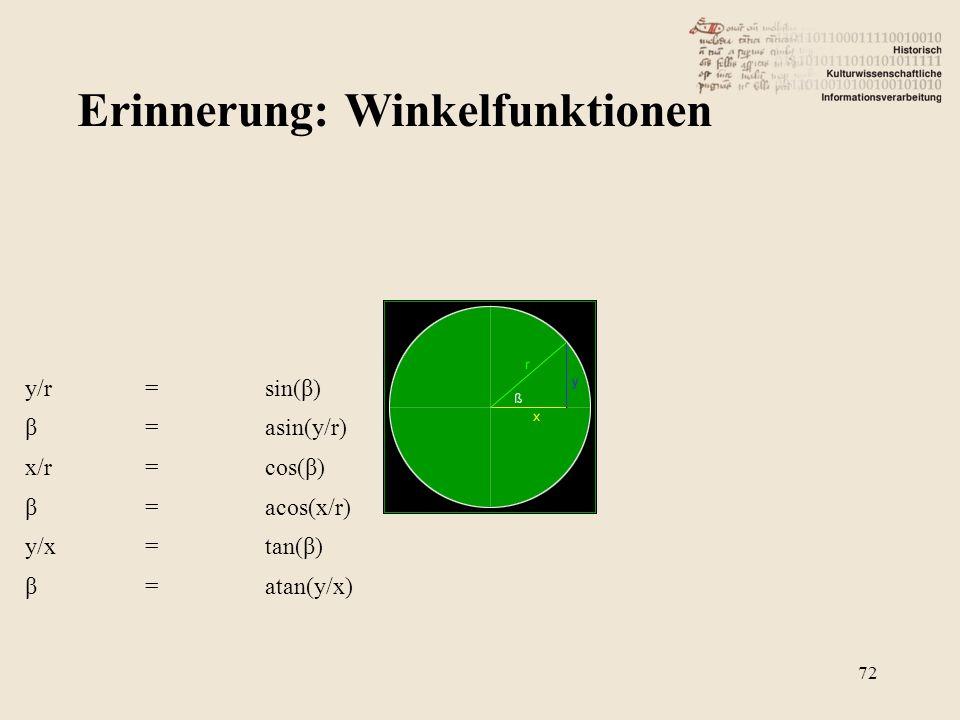 Erinnerung: Winkelfunktionen 72 y/r=sin(β) β=asin(y/r) x/r=cos(β) β=acos(x/r) y/x=tan(β) β=atan(y/x)