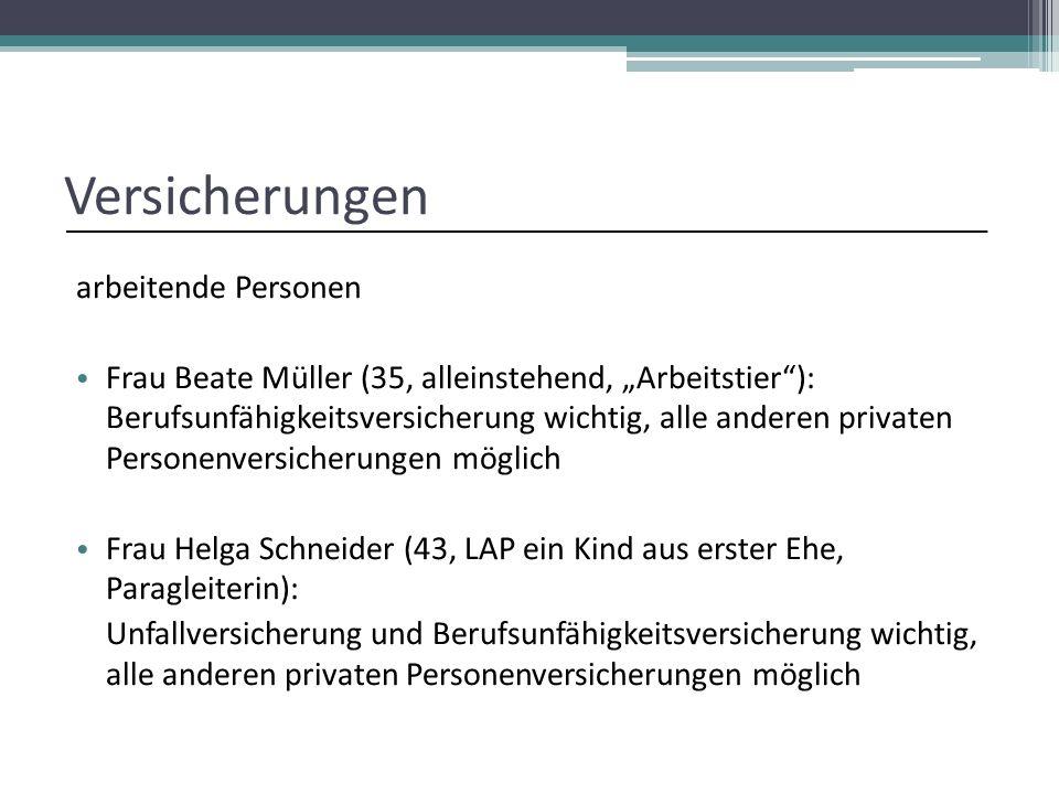 """Versicherungen arbeitende Personen Frau Beate Müller (35, alleinstehend, """"Arbeitstier""""): Berufsunfähigkeitsversicherung wichtig, alle anderen privaten"""