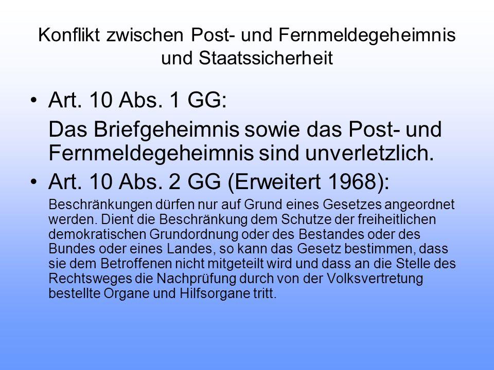 Art. 10 Abs. 1 GG: Das Briefgeheimnis sowie das Post- und Fernmeldegeheimnis sind unverletzlich.