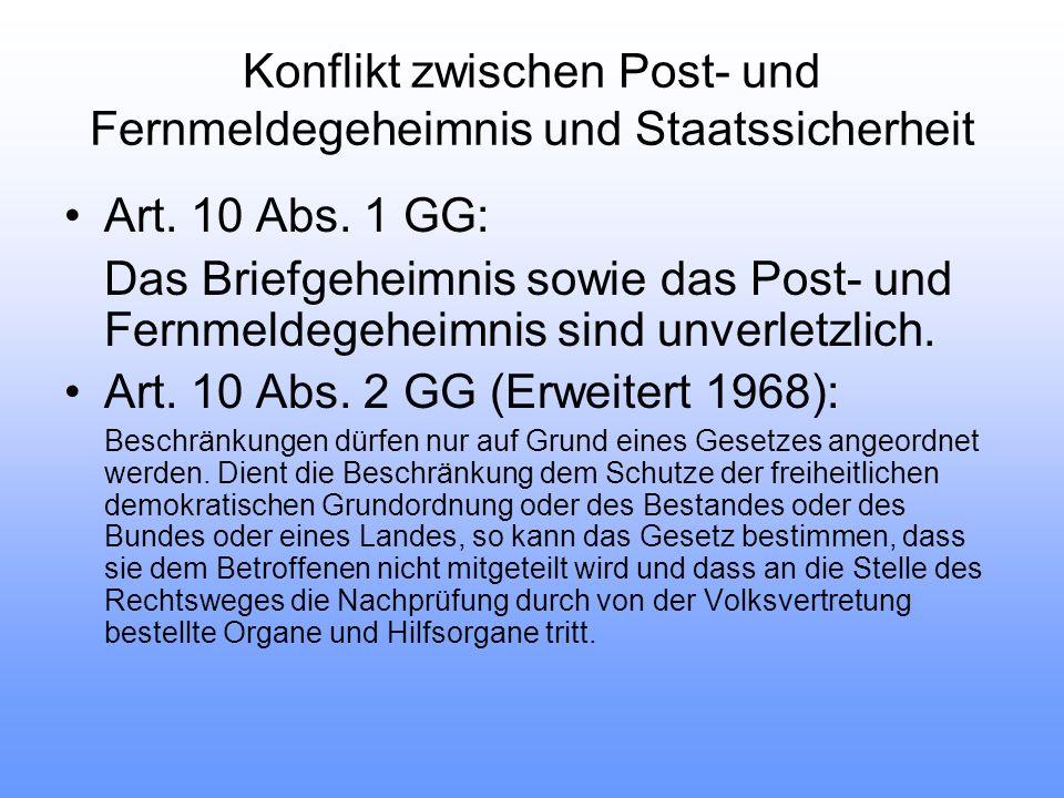 Konflikt zwischen Post- und Fernmeldegeheimnis und Staatssicherheit Art.