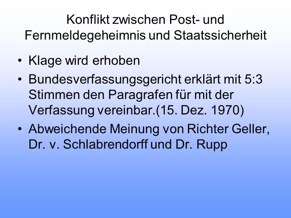 Konflikt zwischen Post- und Fernmeldegeheimnis und Staatssicherheit Klage wird erhoben Bundesverfassungsgericht erklärt mit 5:3 Stimmen den Paragrafen für mit der Verfassung vereinbar.(15.