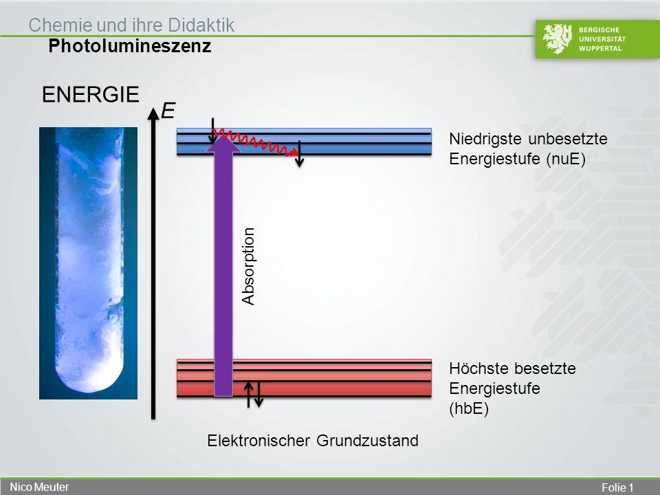 Folie 1 Nico Meuter Photolumineszenz Chemie und ihre Didaktik ENERGIE Höchste besetzte Energiestufe (hbE) Niedrigste unbesetzte Energiestufe (nuE) Abs