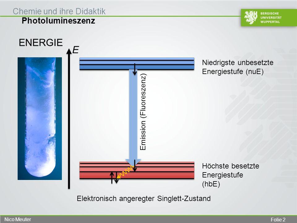 Folie 3 Nico Meuter Photolumineszenz Chemie und ihre Didaktik ENERGIE Höchste besetzte Energiestufe (hbE) Niedrigste unbesetzte Energiestufe (nuE) Zusammenfassung der Elementarvorgänge bei der Fluoreszenz Absorption Emission (Fluoreszenz) E