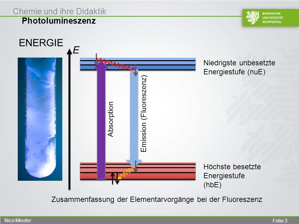 Folie 4 Nico Meuter Photolumineszenz Chemie und ihre Didaktik ENERGIE Höchste besetzte Energiestufe (hbE) Niedrigste unbesetzte Energiestufe (nuE) Absorption Elektronischer Grundzustand E