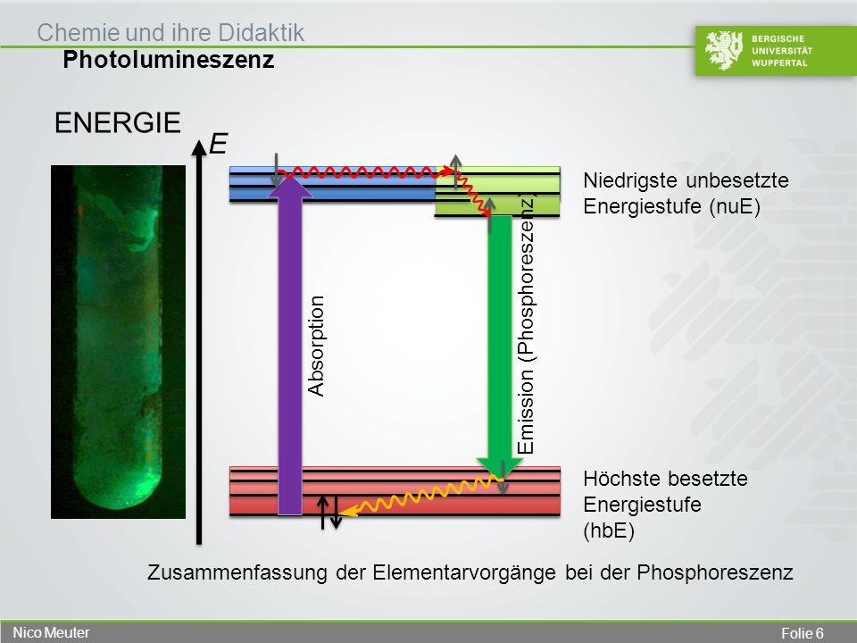 Folie 6 Nico Meuter Photolumineszenz Chemie und ihre Didaktik ENERGIE Höchste besetzte Energiestufe (hbE) Niedrigste unbesetzte Energiestufe (nuE) Abs