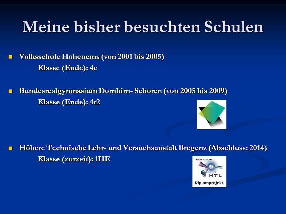 Meine bisher besuchten Schulen Volksschule Hohenems (von 2001 bis 2005) Volksschule Hohenems (von 2001 bis 2005) Klasse (Ende): 4c Klasse (Ende): 4c Bundesrealgymnasium Dornbirn- Schoren (von 2005 bis 2009) Bundesrealgymnasium Dornbirn- Schoren (von 2005 bis 2009) Klasse (Ende): 4r2 Klasse (Ende): 4r2 Höhere Technische Lehr- und Versuchsanstalt Bregenz (Abschluss: 2014) Höhere Technische Lehr- und Versuchsanstalt Bregenz (Abschluss: 2014) Klasse (zurzeit): 1HE Klasse (zurzeit): 1HE