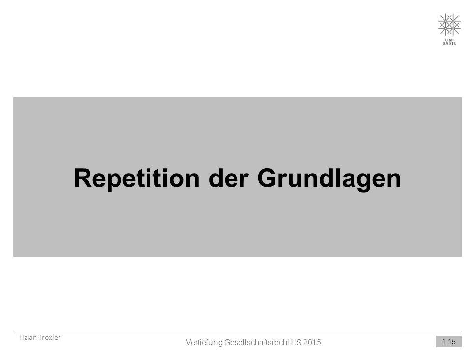 Repetition der Grundlagen Tizian Troxler Vertiefung Gesellschaftsrecht HS 2015 1.15
