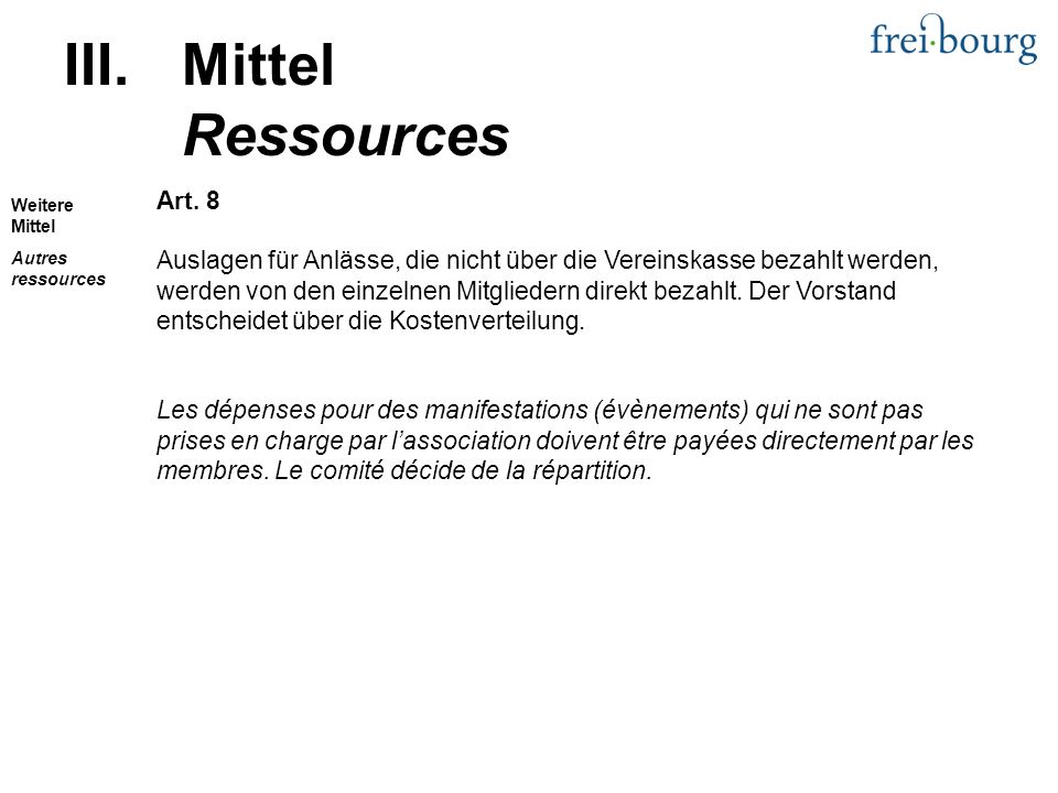 III.Mittel Ressources Art.