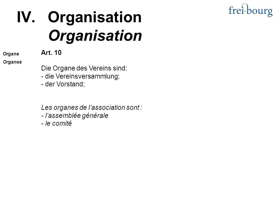 IV.Organisation Organisation Art.