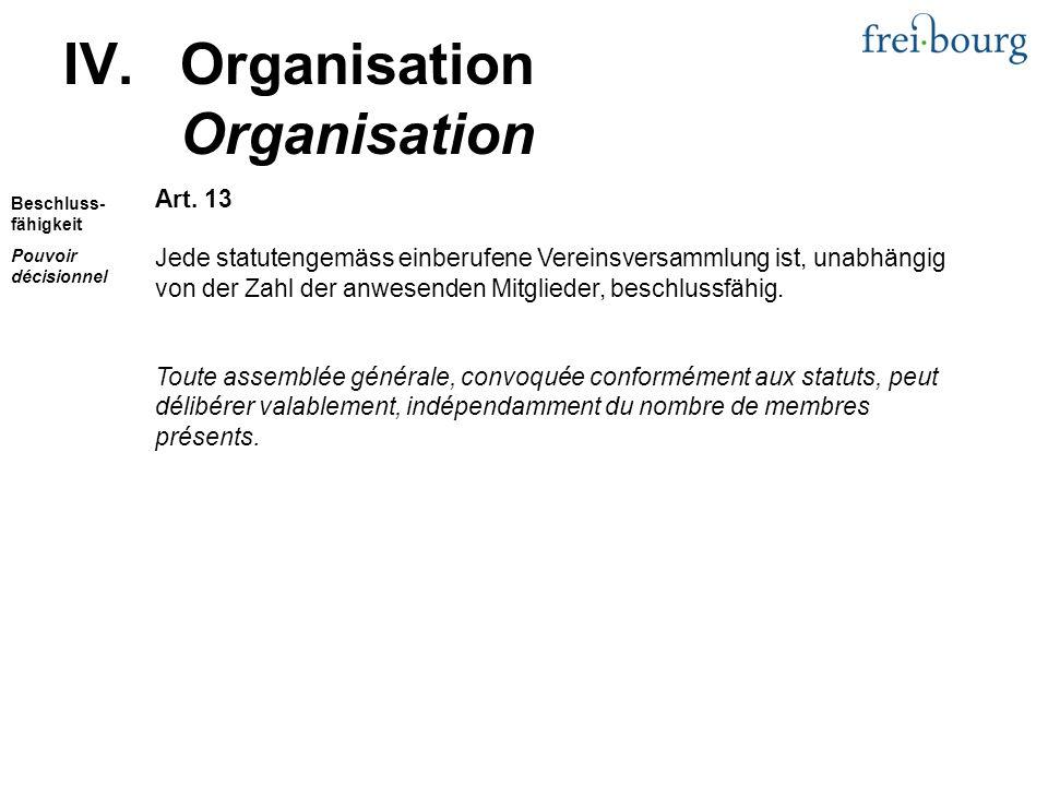 Art. 13 Jede statutengemäss einberufene Vereinsversammlung ist, unabhängig von der Zahl der anwesenden Mitglieder, beschlussfähig. Toute assemblée gén