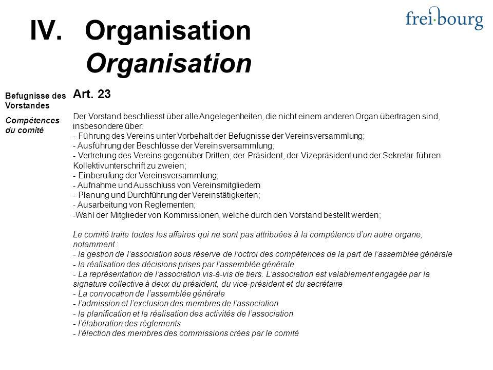 Art. 23 Der Vorstand beschliesst über alle Angelegenheiten, die nicht einem anderen Organ übertragen sind, insbesondere über: - Führung des Vereins un