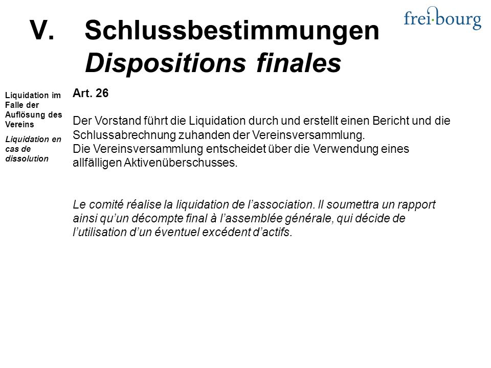 V.Schlussbestimmungen Dispositions finales Art.