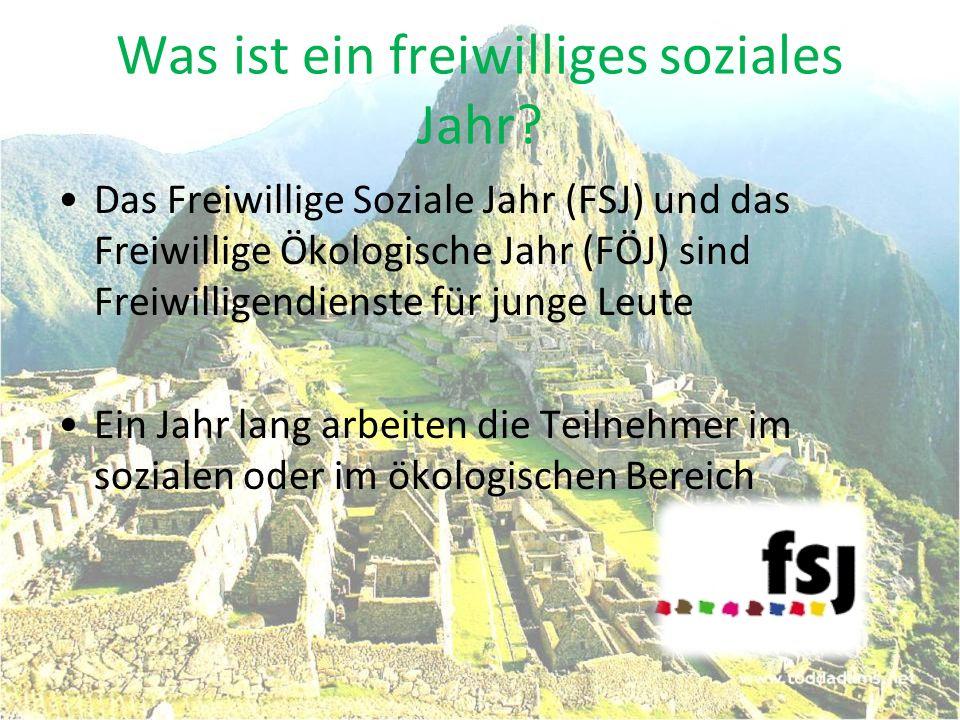 Was ist ein freiwilliges soziales Jahr? Das Freiwillige Soziale Jahr (FSJ) und das Freiwillige Ökologische Jahr (FÖJ) sind Freiwilligendienste für jun
