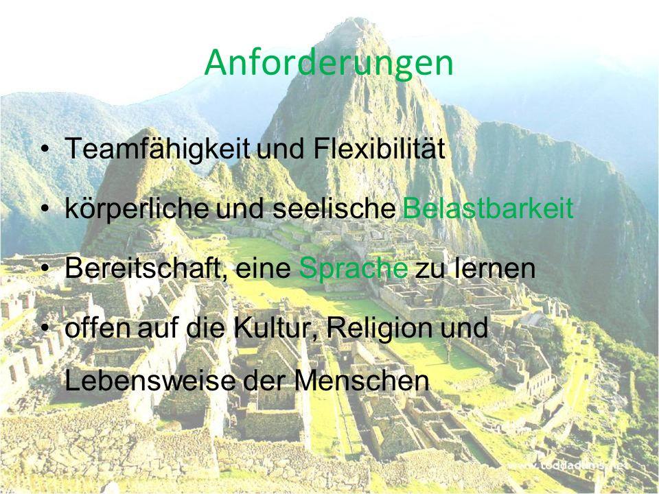 Quellen: http://www.caritas-ehrenamt.de/53699.html http://www.career- contact.de/themeninfos/freiwilliges_soziales_jahr/fsj_ausland.php http://www.auslandspraktikum.in/freiwilliges_soziales_jahr/informatio nen.php?infos=13&sprache=1&land=3&stadt=7 http://www.travelworks.at/at/freiwilligenarbeit-peru.html Bilderreihe: www.verein-blinder-kinder.de/.../Peru02_156.JPG, www.nature-expeditions-peru.com, www.welthungerhilfe.de Kristina Kühne