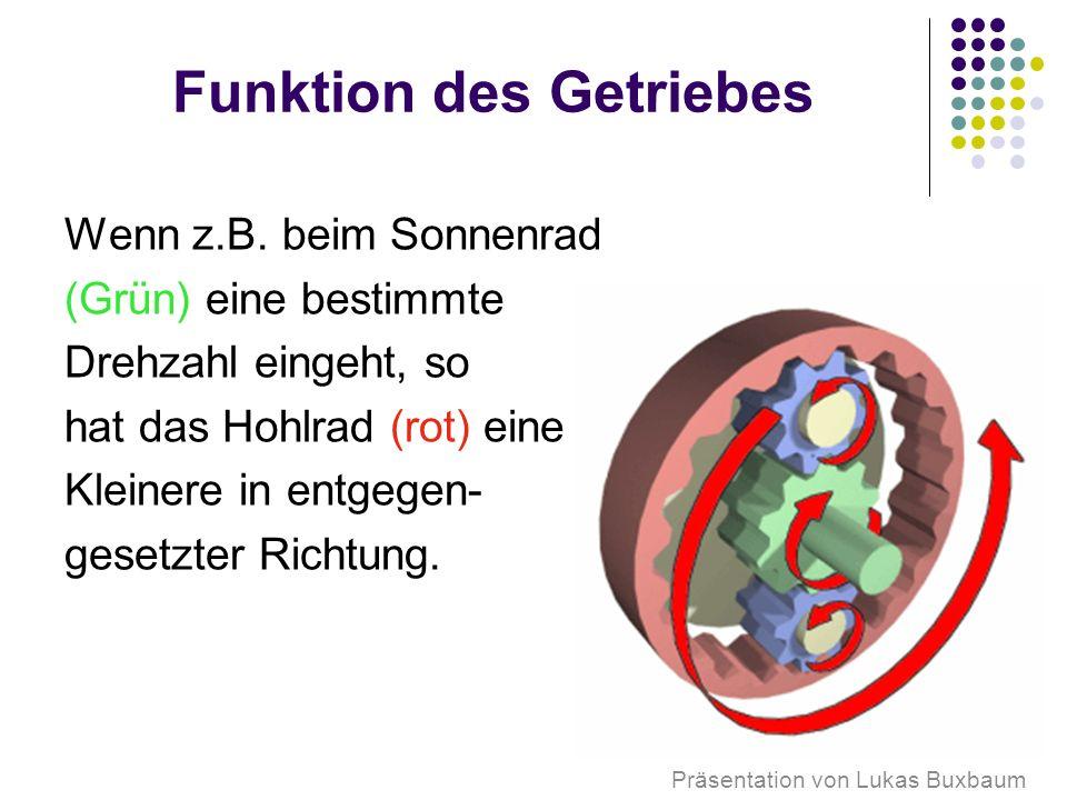 Funktion des Getriebes Wenn z.B.