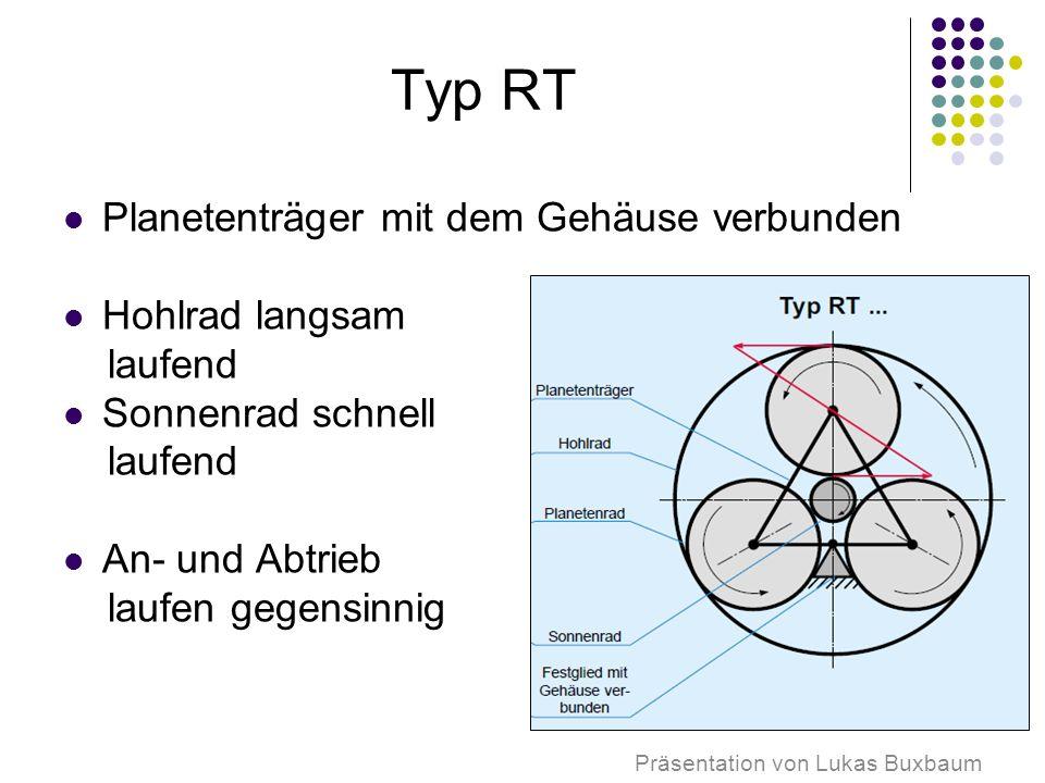 Typ RT Planetenträger mit dem Gehäuse verbunden Hohlrad langsam laufend Sonnenrad schnell laufend An- und Abtrieb laufen gegensinnig Präsentation von