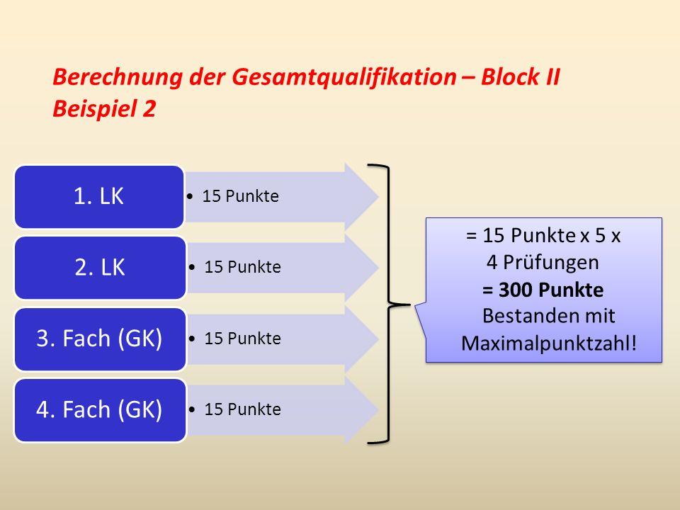 Berechnung der Gesamtqualifikation – Block II Beispiel 2 15 Punkte 1.