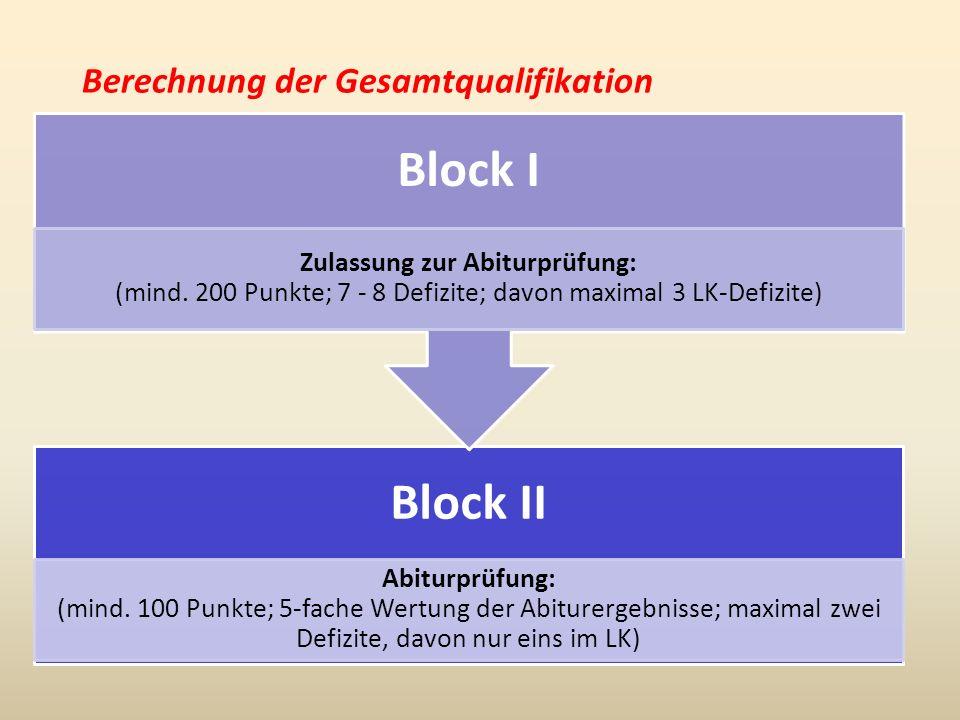 Berechnung der Gesamtqualifikation Block II Abiturprüfung: (mind.