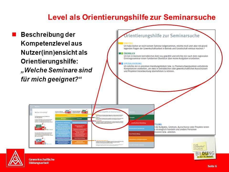 """Gewerkschaftliche Bildungsarbeit Seite 6 Level als Orientierungshilfe zur Seminarsuche Beschreibung der Kompetenzlevel aus Nutzer(inn)ensicht als Orientierungshilfe: """"Welche Seminare sind für mich geeignet?"""