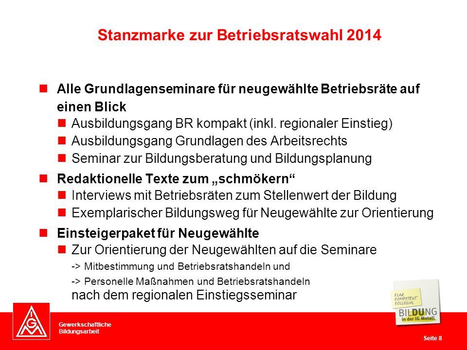 Gewerkschaftliche Bildungsarbeit Seite 8 Stanzmarke zur Betriebsratswahl 2014 Alle Grundlagenseminare für neugewählte Betriebsräte auf einen Blick Ausbildungsgang BR kompakt (inkl.
