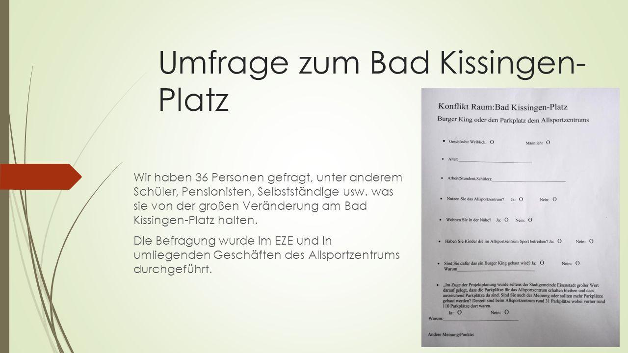 Umfrage zum Bad Kissingen- Platz Wir haben 36 Personen gefragt, unter anderem Schüler, Pensionisten, Selbstständige usw.