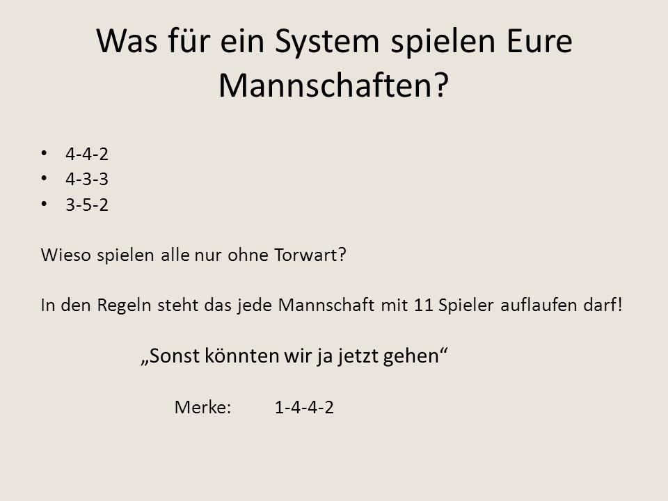 Was für ein System spielen Eure Mannschaften? 4-4-2 4-3-3 3-5-2 Wieso spielen alle nur ohne Torwart? In den Regeln steht das jede Mannschaft mit 11 Sp