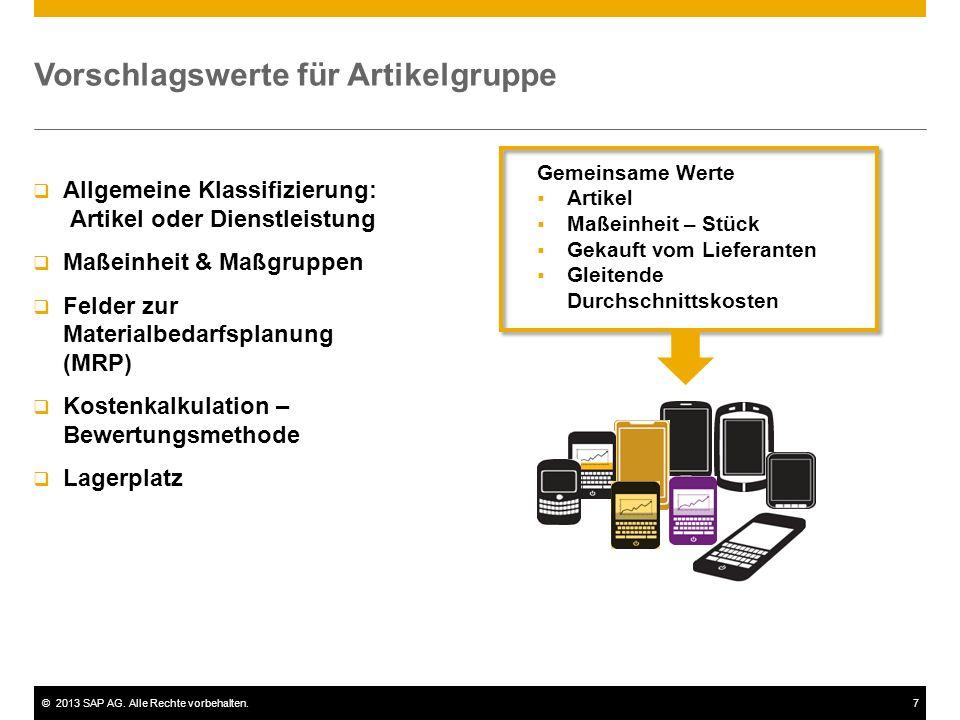 ©2013 SAP AG. Alle Rechte vorbehalten.8 Reporting nach Artikelgruppen
