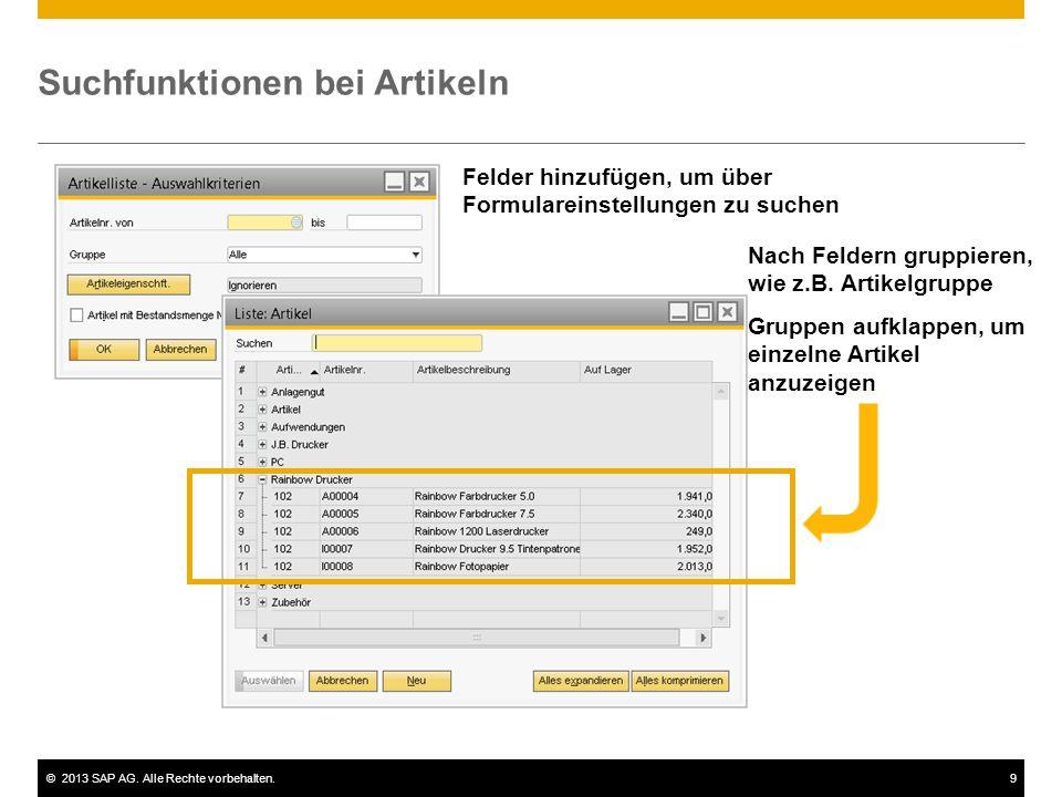 ©2013 SAP AG. Alle Rechte vorbehalten.10 Demo: Artikelgruppen festlegen