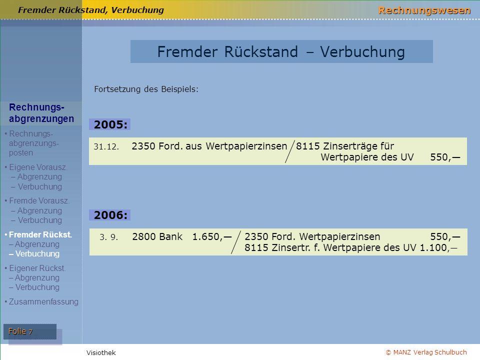 © MANZ Verlag Schulbuch Rechnungswesen Visiothek Folie 7 Fremder Rückstand, Verbuchung 3.