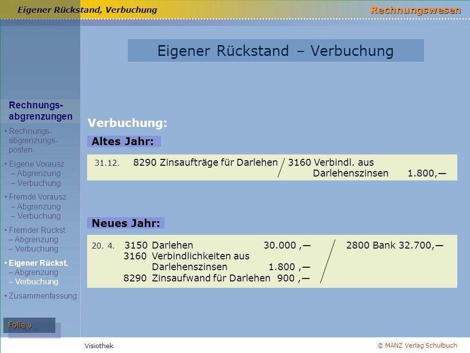 © MANZ Verlag Schulbuch Rechnungswesen Visiothek Folie 10 Aktive Rechnungsabgrenzung Aktive Rechnungsabgrenzung Passive Rechnungsabgrenzung Passive Rechnungsabgrenzung Eigene Vorauszahlungen Bildung: 31.12.