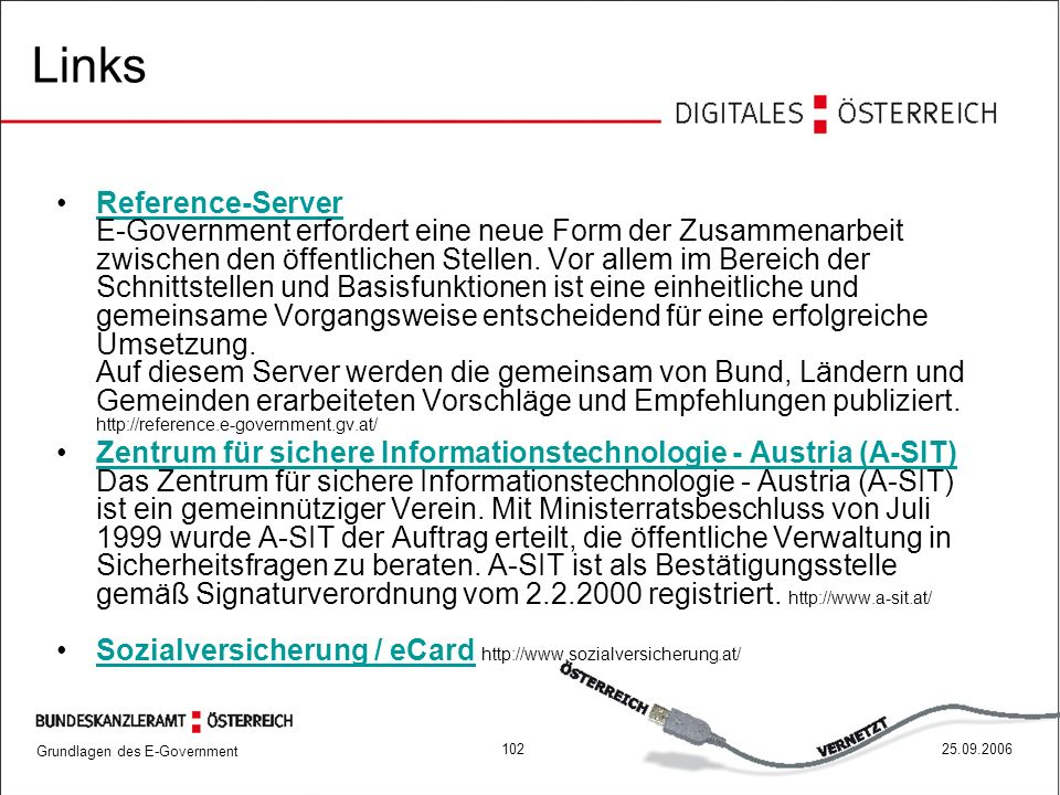 Grundlagen des E-Government 10225.09.2006 Links Reference-Server E-Government erfordert eine neue Form der Zusammenarbeit zwischen den öffentlichen Stellen.