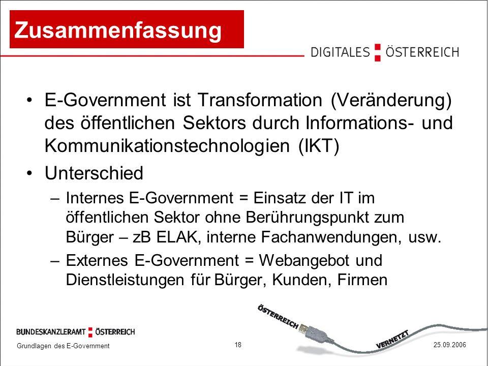 Grundlagen des E-Government 1825.09.2006 Zusammenfassung E-Government ist Transformation (Veränderung) des öffentlichen Sektors durch Informations- un
