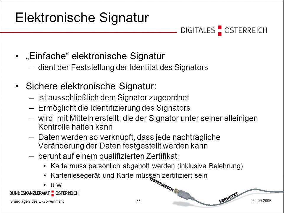 """Grundlagen des E-Government 3825.09.2006 Elektronische Signatur """"Einfache"""" elektronische Signatur –dient der Feststellung der Identität des Signators"""