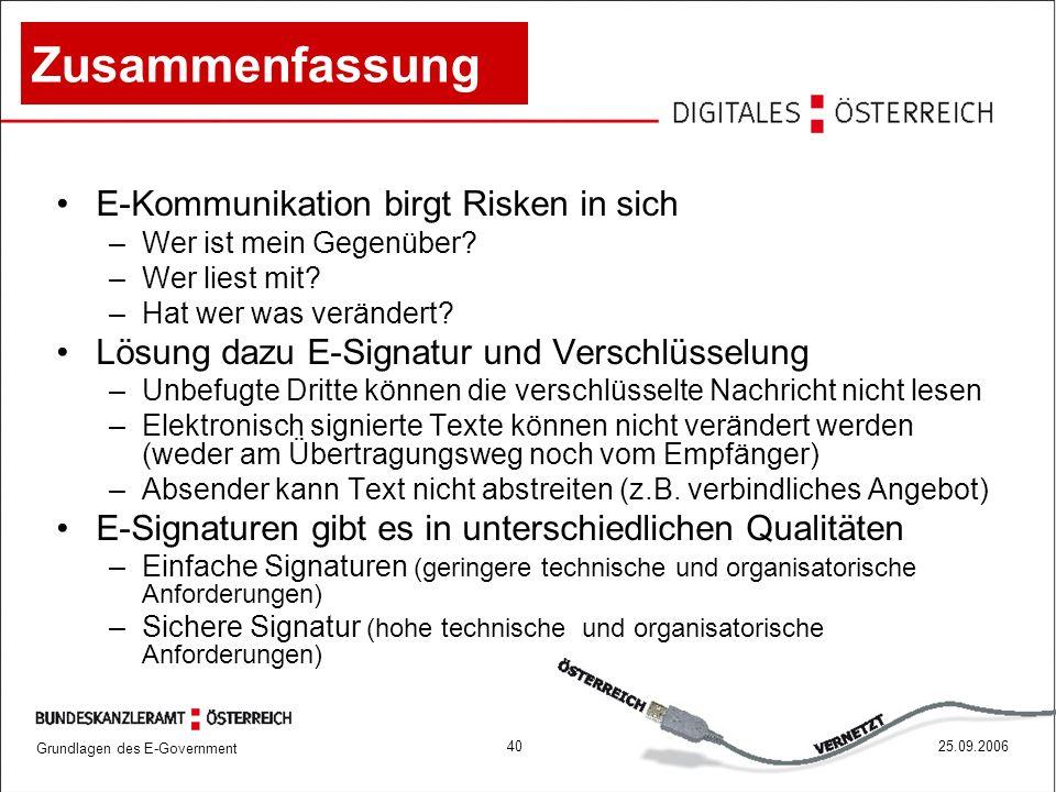 Grundlagen des E-Government 4025.09.2006 Zusammenfassung E-Kommunikation birgt Risken in sich –Wer ist mein Gegenüber? –Wer liest mit? –Hat wer was ve