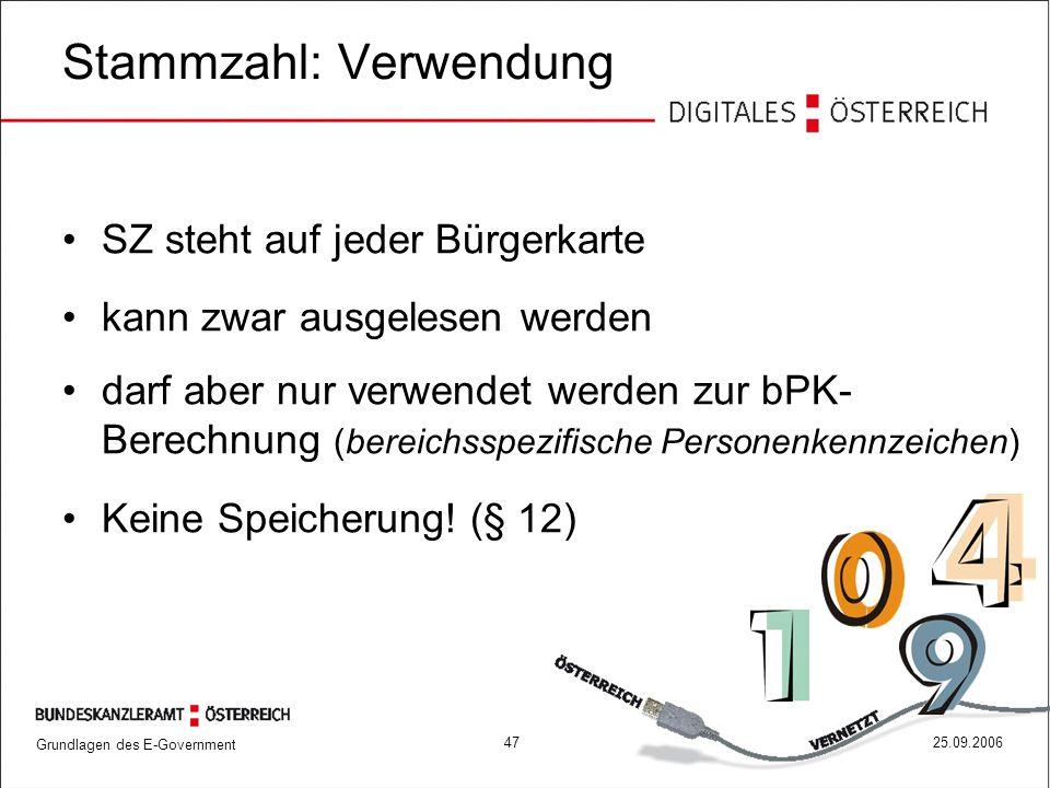 Grundlagen des E-Government 4725.09.2006 Stammzahl: Verwendung SZ steht auf jeder Bürgerkarte kann zwar ausgelesen werden darf aber nur verwendet werd