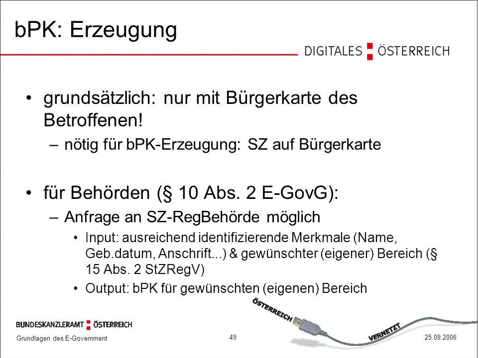 Grundlagen des E-Government 4925.09.2006 bPK: Erzeugung grundsätzlich: nur mit Bürgerkarte des Betroffenen! –nötig für bPK-Erzeugung: SZ auf Bürgerkar