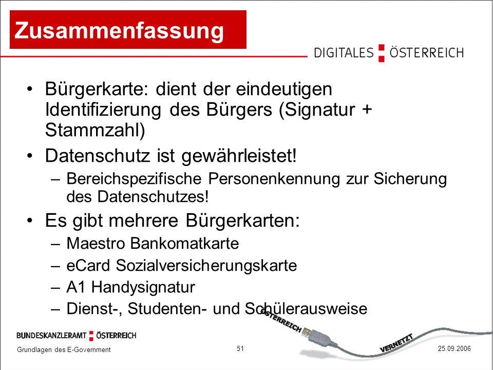 Grundlagen des E-Government 5125.09.2006 Zusammenfassung Bürgerkarte: dient der eindeutigen Identifizierung des Bürgers (Signatur + Stammzahl) Datensc
