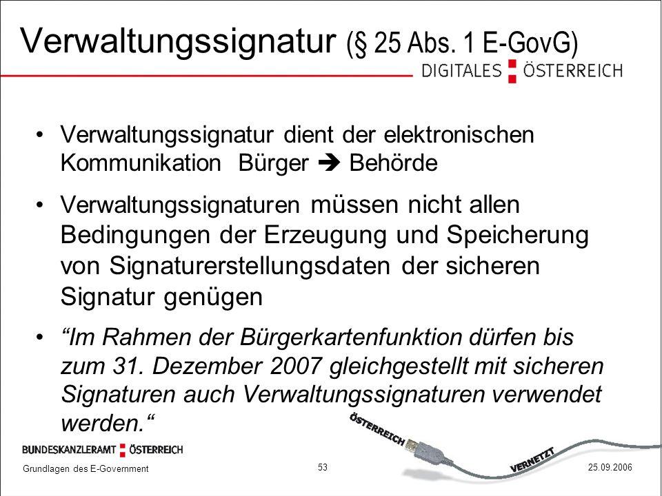 Grundlagen des E-Government 5325.09.2006 Verwaltungssignatur dient der elektronischen Kommunikation Bürger  Behörde Verwaltungssignaturen müssen nich